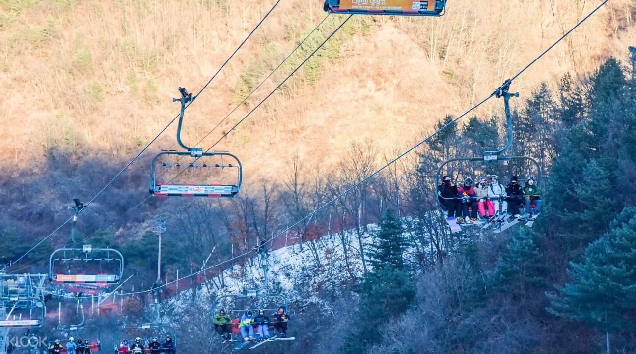 ski lifts at Elysian Gangchon Ski Resort